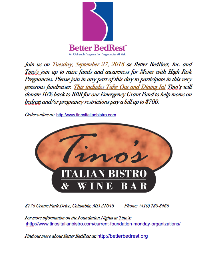 Tino's Italian Bistro Flyer